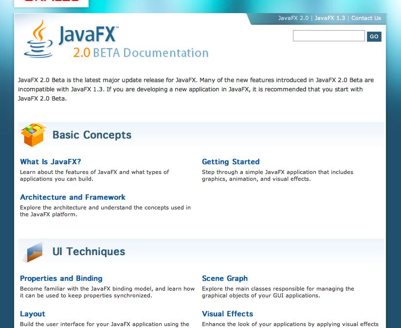 JavaFX Documentation Page