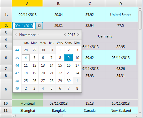 SpreadsheetView with a DatePicker showing.